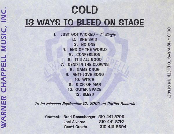 Cold - 13 Ways to Bleed on Stage (2000)