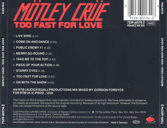 Mötley Crüe - Too Fast for Love (1981)