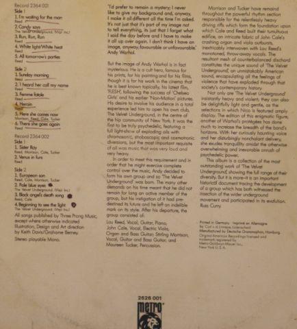 The Velvet Underground - Andy Warhol's Velvet Underground featuring Nico (1971)
