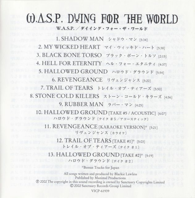 W.A.S.P. - Dying for the World (2002)
